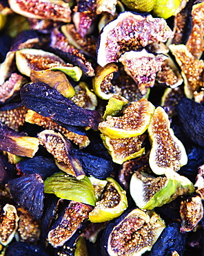 Close up, detail, of dried Mission figs (also known as Black Mission or Franciscana). It is a popular variety of the edible fig (Ficus carica). Sonoma County, California. USA.