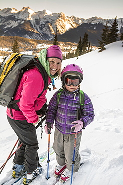 A mother and daughter backcountry skiing near Molas Pass above Silverton, Colorado.