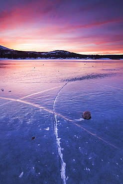 White Rock lake at Sunset, Pacific Crest near Truckee, California.