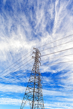 High power electric tower and power lines.