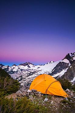 Tent at dusk, White Rock Lakes along the Ptarmigan Traverse, North Cascades, Washington