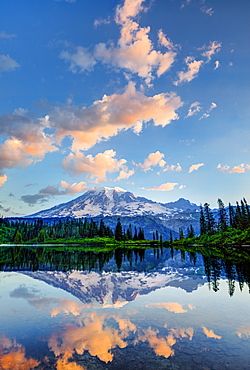 Mount Rainier reflected in pond at sunrise, Mount Rainier National Park