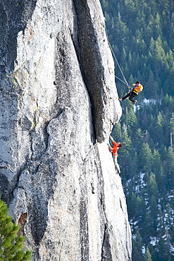Corey Rich photographs Mitch Underhill on a climb on Lower Phantom Spire, South Lake Tahoe, CA, United States of America