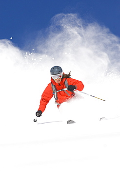 Charlotte Moats skiing fresh powder at Snowbird, Utah, United States of America