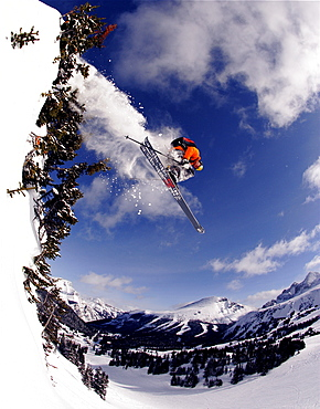 A skier surgically splits the trees and catches some bluebird Canadian air, Canada