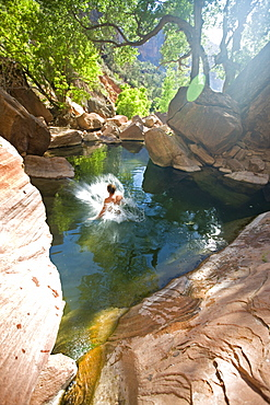 Man jumping into pool, Zion National Park, Utah.
