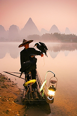Chinese fisherman fishing in Li Jang River with cormorant birds, Guilin, China