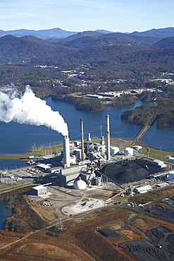 Aerial view of coal-fired power plant in Asheville, NC