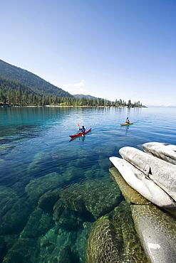 Kayaking near Sand Harbor on Lake Tahoe, Nevada, United States.
