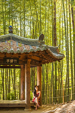 woman restingon a picnic area in bamboo forrest in Damyang