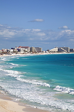 A portion of Hotel Row, with turquoise sea, Cancun, Quintana Roo, Yucatan, Mexico.