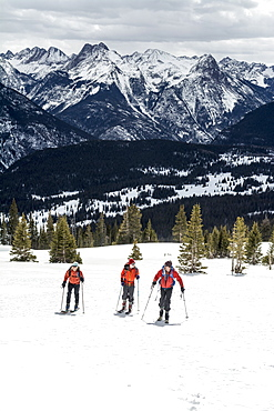 Group of skiers skiing on the Grand Turk in Silverton, Colorado