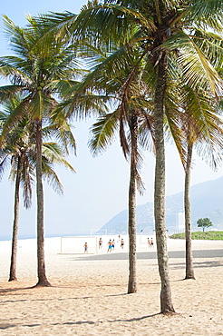 Palm trees on Leblon Beach with soccer players in the background