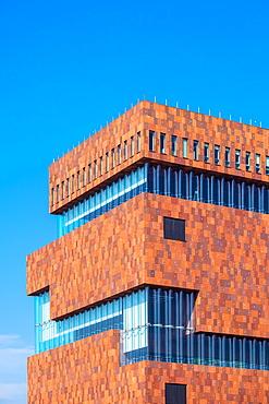 The View Of Museum Building Located In Scheldt River, Antwerp, Belgium