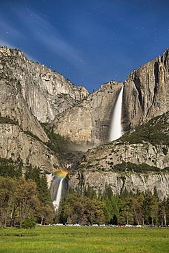 Moonbow And Stars At Yosemite Falls, Yosemite National Park, California, Usa