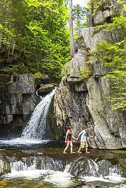 A Couple Explores Screw Auger Falls On Gulf Hagas Brook Appalachian Trail
