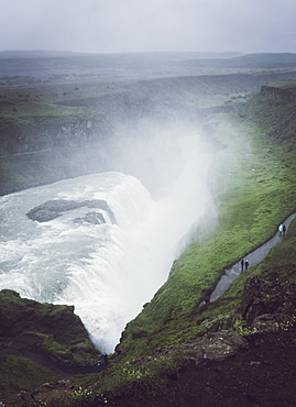High Angle View Of The Falls And Canyon At Gullfoss, Iceland