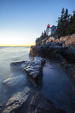 Bass Harbor Head Lighthouse at sunset in Acadia National Park
