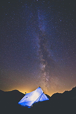 Tarp Tent Below Night Sky And Milky Way In North Cascades National Park