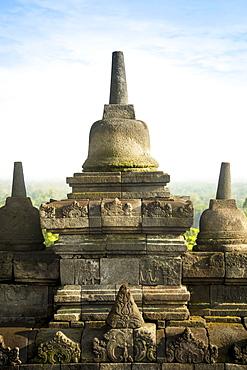 Stupas On Borobudur Temple In Yogyakarta, Java Island, Indonesia