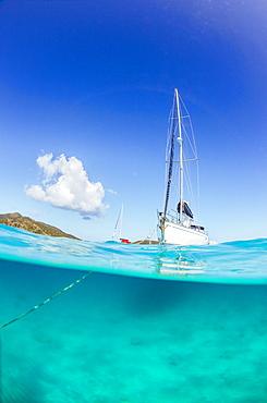 View Of A Sailboat Sailing In Ocean