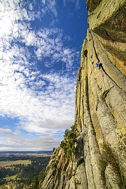 A male rock climber leads a pitch on Devil's Tower, Wyoming.