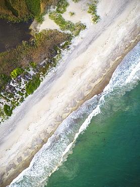Overhead vertical drone aerial of Rhode Island beach (Drone)