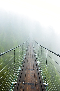 A suspension bridge extends into the mist on a rainy fall day Squamish, British Columbia.