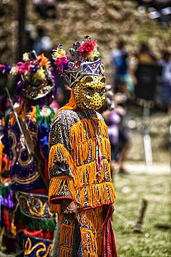 A Mayan Jaguar dancer performs at a cultural ceremony at Blue Creek Village, Toledo, Belize