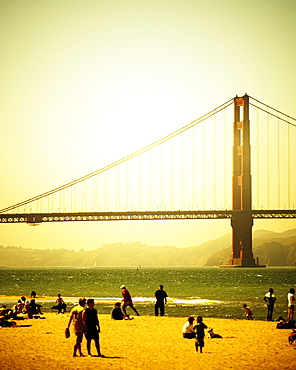 The beach at Chrissy Field with the Golden Gate Bridge in the background. San Francisco, CA