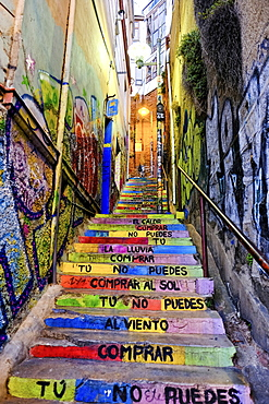 Colorful Stairs in Valparaiso, Chile