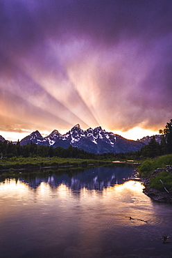 Clouds over Tetons mountains at sunset in in Grand Teton National Park, Wyoming, USA