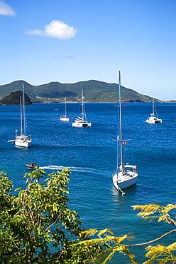 View of sailboats in sea, Bourg de Saintes, Isles des Saintes, Guadeloupe
