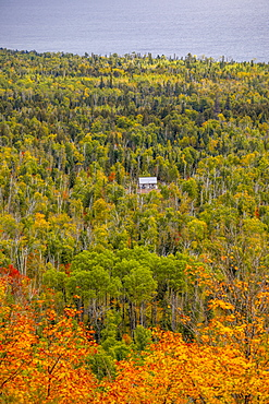 Scenic view of forest with log cabin, Oberg Mountain hiking trail, Tofte, Minnesota, USA