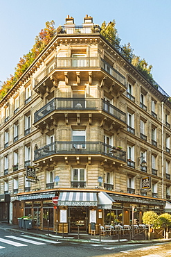 Front view of classic parisian building at Bonaparte Street, Latin quarter close to Sorbonne University, Paris, Ile-de-France, France