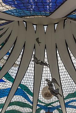 Stained glass windows inside of Brasilia Cathedral, Brasilia, Brazil