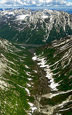 Aerial view of Alaska Range over Denali National Park with Glacier Carved Valley and river, Denali National Park, Alaska, USA