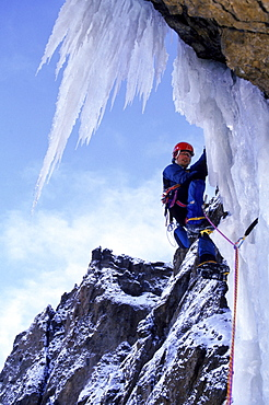 Eric Sast ice climbing in South Fork Canyon, Cody.