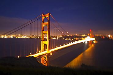 The Golden Gate Bridge Illuminated At Night; San Francisco California United States Of America