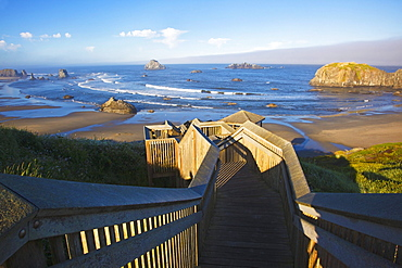 A Stairway To The Beach At Bandon State Park; Bandon Oregon United States Of America