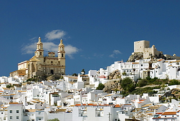 Olvera Church And Twelfth Century Moorish Castle In C√°diz Province, Andalucia, Spain