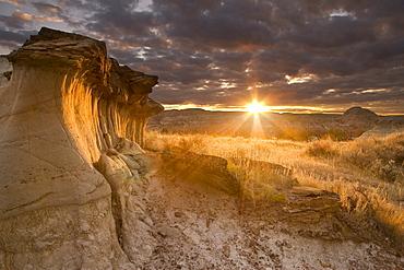 Hoodoos At Sunset In Dinosaur Provincial Park, Alberta, Canada