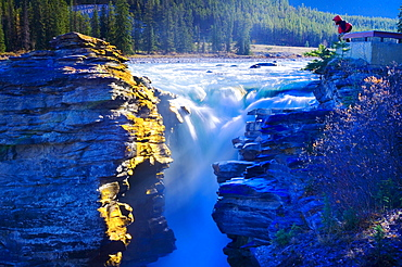 Person Viewing Athabasca Falls In The Early Morning, Jasper National Park, Alberta, Canada