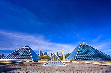 Edmonton Skyline With Pyramids In Front
