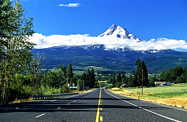 Road Towards Mount Hood, Oregon, Usa