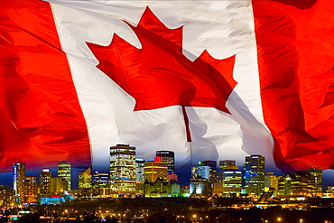 Flag Of Canada Over Alberta's Capital City, Edmonton, Alberta, Canada