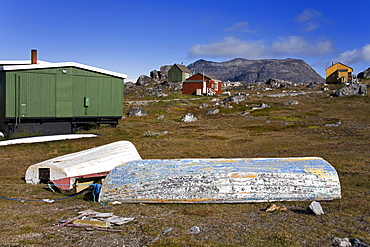 Houses And Boats In Nanortalik, Island Of Qoornoq, Province Of Kitaa, Southern Greenland