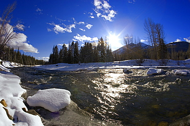 Flowing River And Winter Scenery