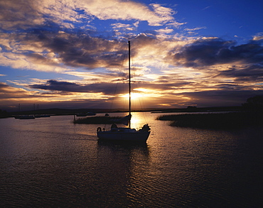 Boats In The Kikgarvan Harbour At Sunset; Lough Derg, Co Tipperary, Ireland