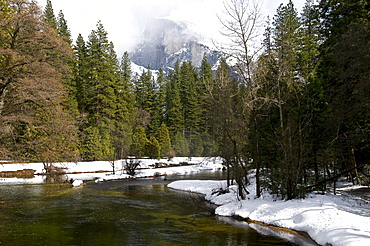 River In Winter Landscape, Yosemite National Park, California, United States Of America